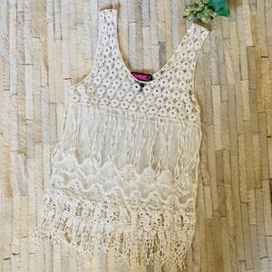 Festival Boho White Top with Fringe - Small